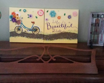 Bike art, life is beautiful art, paper flower art, spring art, mothers day art, summer art, flower basket, hand painted art, mixed media art