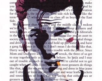 The Outsiders 'Ponyboy' Printed Illustration on Page from 'The Outsiders.'