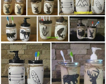 Deer, bear, moose, fishing, arrows, feather, teepee, turkey, woodland ,Indian, Toothbrush holders and soap dispensers, woodland animals,