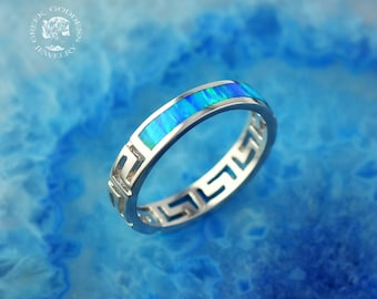 greek key opal silver ring, blue opal ring, greek ring, blue opal, greek jewelry, greek key ring, blue opal ring, opal, silver ring, meander