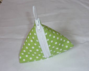 Bean green pouch with white polka dots