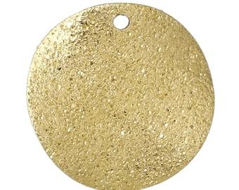 x 10 sequins 20 mm round Golden pendants granite.