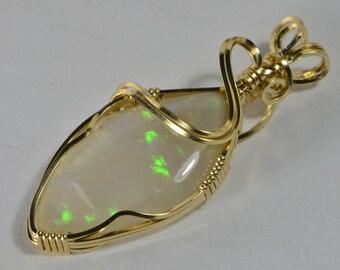Australian Opal Pendant Wire Wrapped Opal Pendant Opal Jewelry Handmade Opal Jewelry