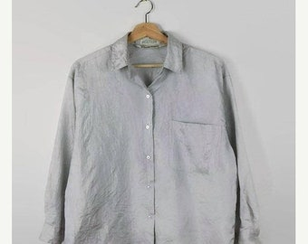ON SALE Vintage Diane Von furstenberg Shiny Grey Long Sleeve Blouse from 1980's*