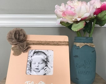 Rustic Personalized burlap monogrammed frame, Nursey Decor, Baby Shower Gift, New Born Gift, Home Decor.