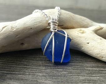Blue sea glass necklace, cobalt blue necklace, Scottish Sea glass jewellery, sea glass necklace, beach glass jewellery, sea blue necklace