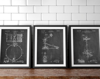 Drum Art Patent Posters Group of 3, Drummer Art, Cymbal, Drum Patent, Snare Drum, Percussion, Music Room Decor, Boys Room Decor, PP1152