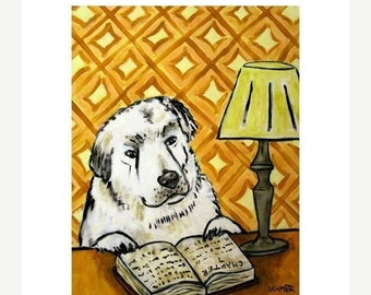 25% off Great Pyrenees Reading at the Library Dog Art Print  JSCHMETZ modern FOLK  POP art gift