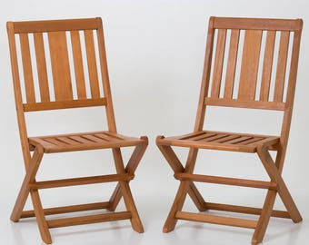 Armless Folding Chair Set of 2 - DTY Outdoor Living Eucalyptus Patio Furniture Dining Collection