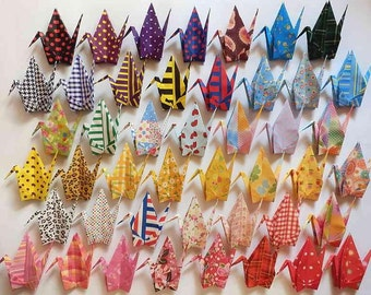 """45 Large Origami Cranes Origami Paper Cranes - Made of 15cm 6"""" Japanese Chiyogami Origami Paper - 45 Patterns B"""