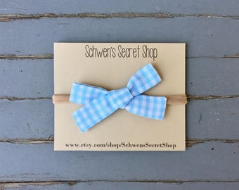 blue gingham baby bow, baby girl headband, hand tied bow, baby headband, nylon headband, baby bow headband, baby hair bow, baby bows