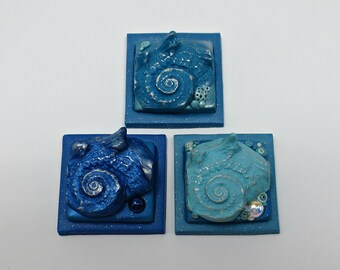 Inchie Tiles, Sea Shell Mosaic Tiles, Polymer Clay in Shades of Blue, Set of 3, Handmade Jewelry Component