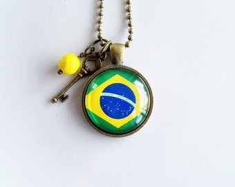 Flag of Brazil Necklace - Brazilian Flag Jewelry - Country Flag - Patriotic Pendant - South America - Custom Jewelry - Green and Yellow Flag