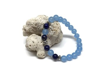 Mala bracelet, Gemstones bracelet, Beaded bracelet, Healing bracelet, Bracelet made of jade and lapis lazuli