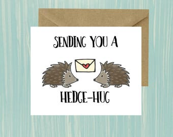 HedgeHug, Miss You, Just Because, Card, Instant Download, Printable, Hedgehog, Long Distance, I miss your face, College Student Gift, Moving