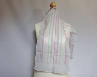 """Vintage White striped pastel scarf  31cm x 152cm 12.2"""" x 53.1"""""""