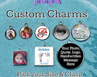 Photo Charm Photo Pendant Necklace Picture Charms Photo Jewelry Wedding Bouquet Charm Handwriting Jewellery Custom Charms for Bracelet