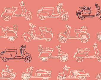MOPEDS - CORAL - ORGANIC Knit Fabric