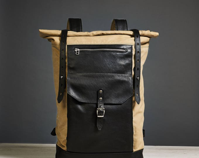 Olive Wax canvas rucksack. Student backpack.