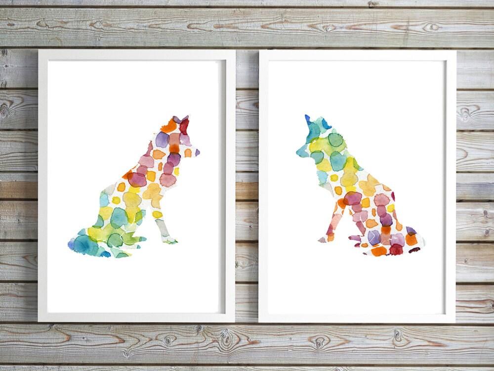 Conjunto de 2 zorro de vivero arte pintura de Animal de