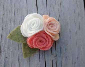 Felt Roses Brooch / Roses Pin/ Felt Accessories/ Handmade