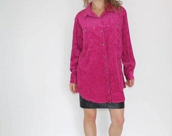 80s Corduroy Shirt Neon Pink Top Oversize Button Down Shirt Womens Large Bubblegum Pink Top Mens Small Long Sleeve Corduroy Button Up S M L aXBFw22