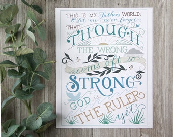 This is My Father's World Christian Hymn -Typography Art Print
