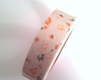 Background fabric Ribbon - sticker - white flowers Orange and green - T25