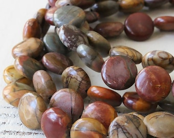10mm Picasso Jasper Coin Beads - Jewelry Making Supply - 10mm Coin Beads - 16 Inch Strand