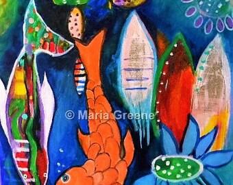 Fisch-Acryl-Malerei, abstrakte, bunte Kunst, Meer, Meerestiere, intuitive Kunst