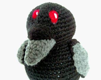 Raven Stuffed Animal - Raven - Crow - Black Crow - Black with Gray Beak - Plush Toy - Machine Washable - Morrigan - Mythology - Halloween