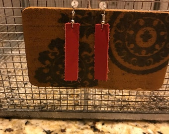 Red leather bar earrings