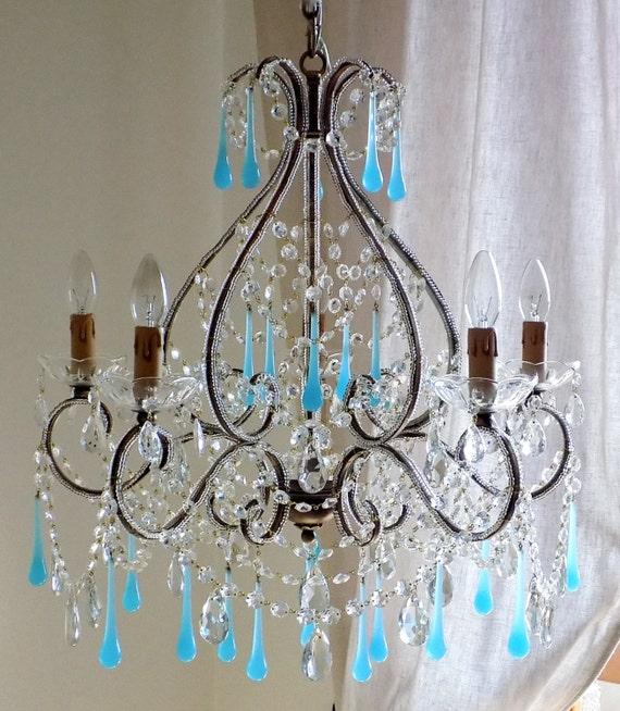 Classic Murano Chandeliers For Luxury Hotel In Florence: Opaline Chandelier Wrought Iron Murano Blue Opaline Birdcage