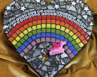 Pegasus Farting Rainbows Heart Mosaic