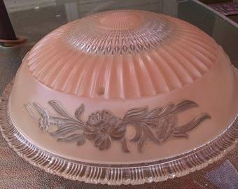 Ceiling Light / Light Fixture / Glass Lamp Shade / Art Nouveau Fixture / Pink Glass Shade / 3 Chain Lamp Shade /  Photo Prop