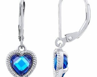Silver and Post Women's Sterling Silver CZ Blue Hearts Dangle Earrings, High Quality Design, Bamboo Gift Box Included