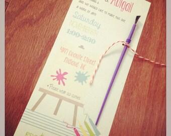 PRINTED Art Birthday Party Invitations, set of 25