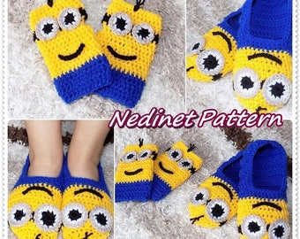 Crochet pattern slippers adult sizes pdf file with instant crochet minion slippers minion mittens crochet pattern crochet slippers crochet shoes dt1010fo