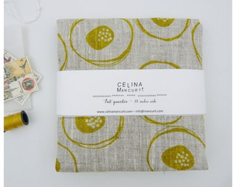 Linen Fat Quarter - mustard blossom - hand screen printed by celina mancurti - Free Shipping to USA