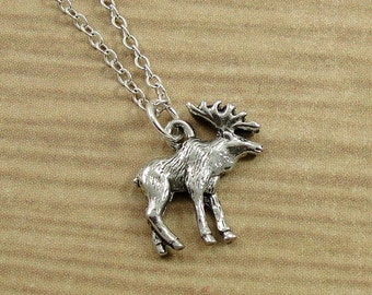 Sterling silver moose charm necklace with mini hand stamped moose necklace silver moose charm on a silver cable chain aloadofball Images