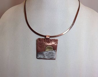 Stunning copper brass and silver sunset pendant with neck wire
