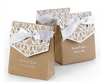 Kraft White Stamped Wedding Favor Boxes (Pack of 25) Wedding Favor Ideas