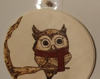 Custom Owl Wood Burning Pyrography Painting Wall Art