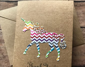 Unicorn Card, Thank You Cards, Stationery Set, Greeting Cards. Rainbow Chevron Unicorn, Blank Note Cards and Envelopes