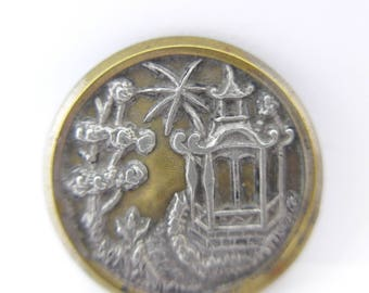 Vintage Japanese Pagoda Cherry Blossom Silver & Gilt Metal Picture Button