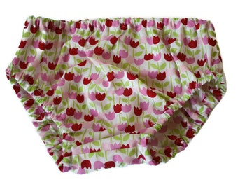 Baby Bloomers - 1 pair of floral bloomers - Nappy or Diaper Cover. Handmade. Size12-24 months. Busy Work.