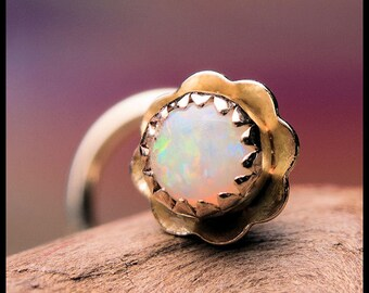 Opal in Gold Nose Stud - 14K Solid Yellow Gold with Natural Opal - CUSTOMIZE