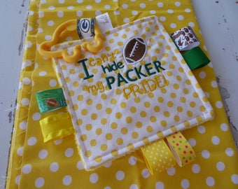 Baby Girl Crinkle toy, Baby Boy Crinkle toy, Embroidered Green Bay Packers, Valentines day, with or without pacifier keeper, busy moms toy