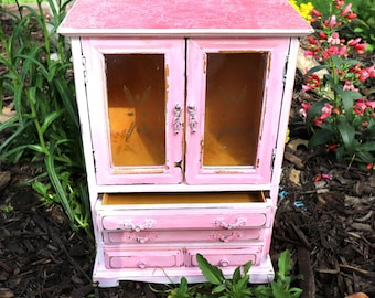 Large Pink Chippy Vintage Upcycled Restored Wood Hand painted Jewelry Box, jewelry storage, gift, birthday gift, bride gift, maps