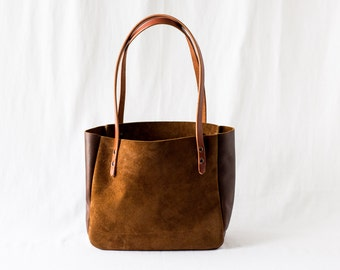 SMALL TOTE Rust Brown • Rough-Out Suede Leather Purse